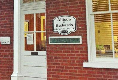 Allison and Rickards Attorneys at Law LLC sign